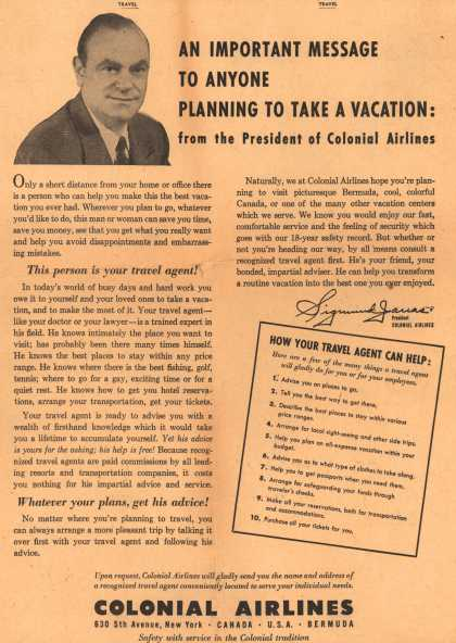 Colonial Airlines – An Important Message To Anyone Planning To Take A Vacation: from the President of Colonial Airlines (1948)
