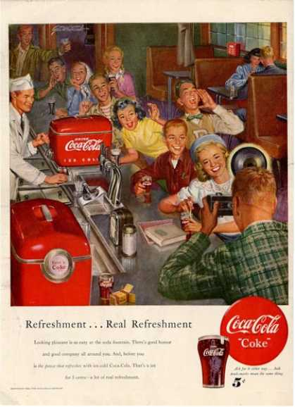 Coca Cola Coke Soda Fountain Store Ad T (1950)