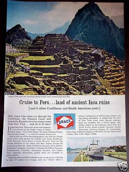 Grace Cruise Lines To Peru Machu Picchu Photo (1964)