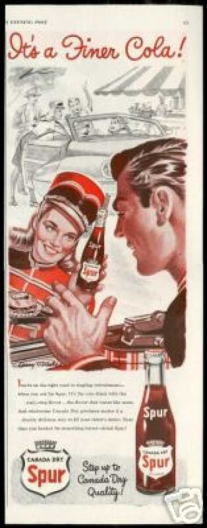 Spur Cola Car Hop Canada Dry Larry Tisdale Art (1947)