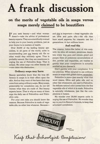 Palmolive Company's Palmolive Soap – A frank discussion (1931)
