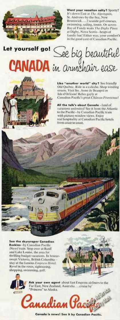 Canadian Pacific Train Art Nice Canada Travel (1953)
