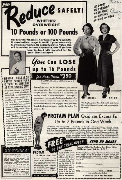 Associated Nutrition Products, Incorporated's Protam Nutritional Plan – Now Reduce Safely! Whether Overweight 10 Pounds or 100 Pounds (1949)