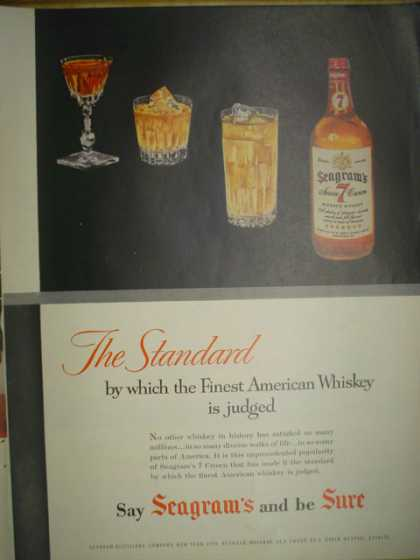Seagrams 7 Whiskey Premium by which the finest American Whiskey is judged (1955)
