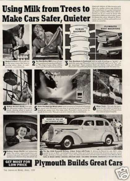 "Plymouth 4-door Sedan Ad ""Using Milk From... (1938)"