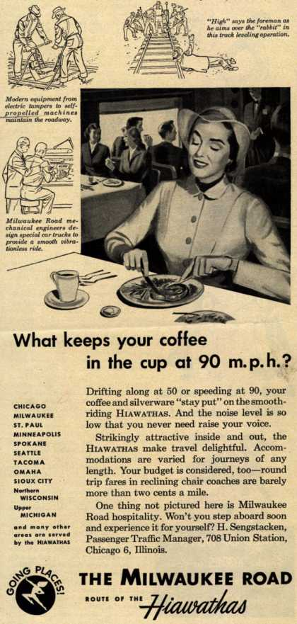 Milwaukee Road's Hiawathas – What keeps your coffee in the cup at 90 m.p.h.? (1951)