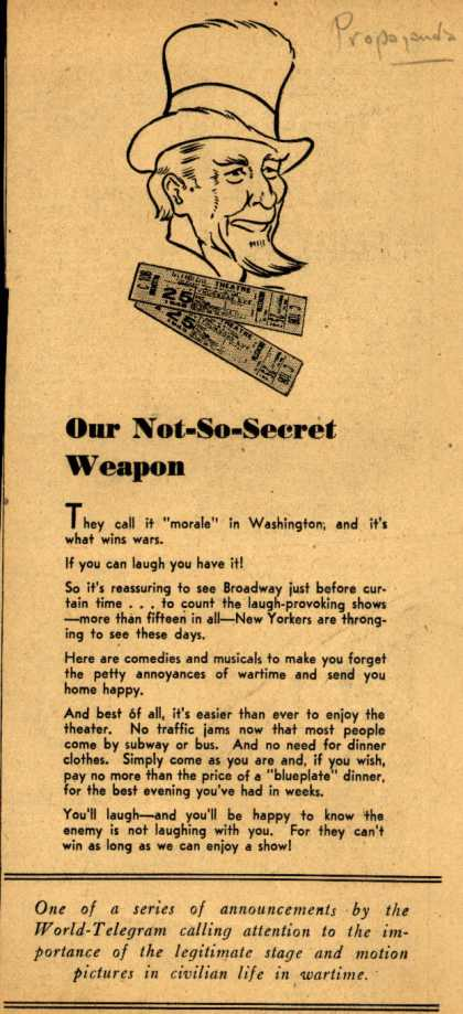 World-Telegram's cinema/theater industry – Our Not-So-Secret Weapon (1943)