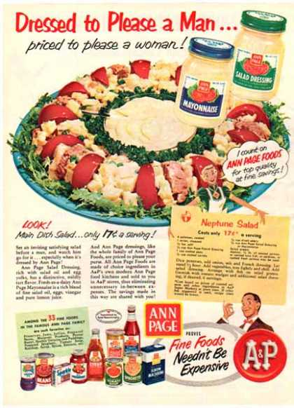 A & P Coffee – Ann Page Products – Neptune Salad Recipe (1951)
