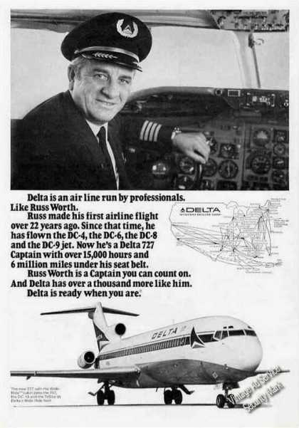 Delta Airlines Russ Worth Ad With Route Map (1974)