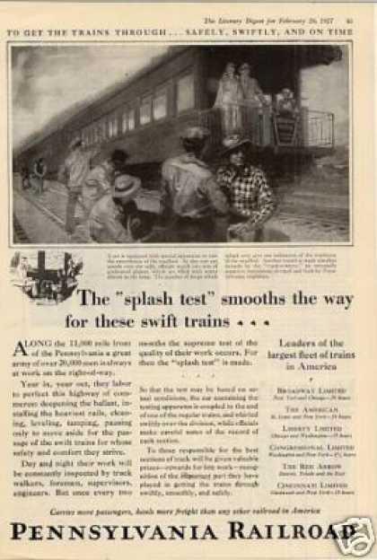 "Pennsylvania Railroad Ad ""The Splash Test... (1927)"