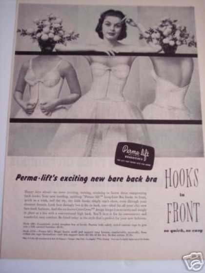 's Ad Perma Lift Bra New Bare Back Hooks In Front (1940)