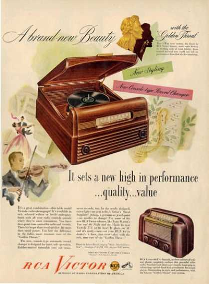 Rca Victor Golden Throat Radio Phonograph 77u Ad T (1948)