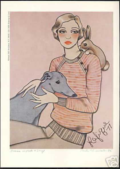 Rafique Fashion NY Greyhound Dog Laslo Art (1977)
