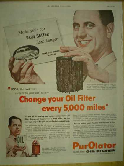 Purolator Oil Filter Make your car run longer last longer (1954)
