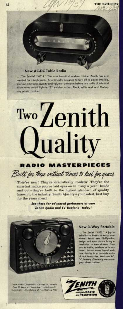 Zenith Radio Corporation's Various – Two Zenith Quality Radio Masterpieces Built for these critical times to last for years (1951)