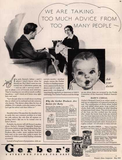 Gerber Products Company's Gerber Strained Foods for Baby – We Are Taking Too Much Advice from Too Many People (1933)