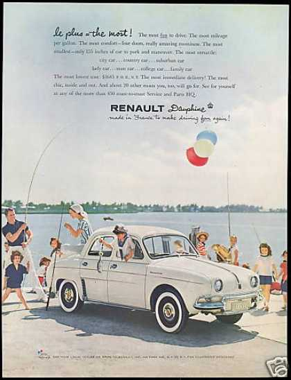 Renault Dauphine Car Photo Family Fishing (1958)