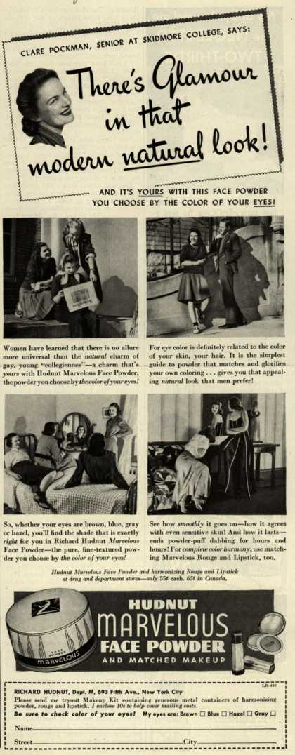 Richard Hudnut's Marvelous Face Powder – There's Glamour in that modern natural look (1940)