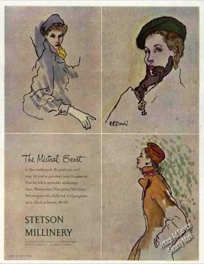 The Mistral Beret Art Stetson Millinery Fashion (1947)