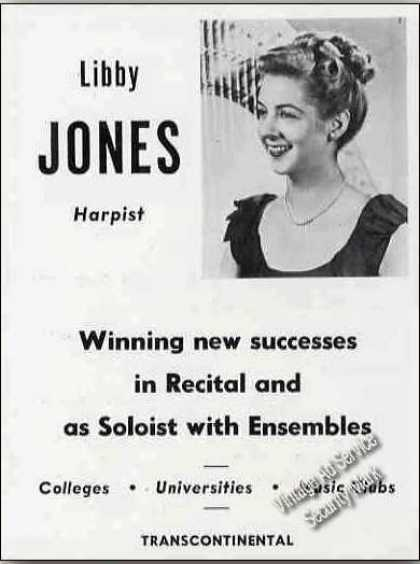 Libby Jones Photo Harpist Trade (1951)