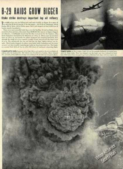 Wwii B-29 Photos & Print Article (1945)