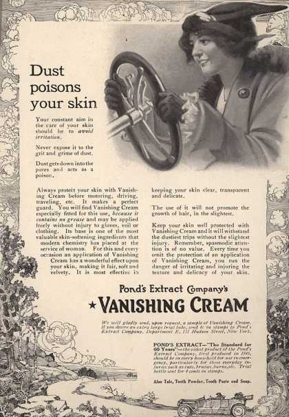 Pond's Extract Co.'s Pond's Vanishing Cream – Dust poisons your skin (1912)