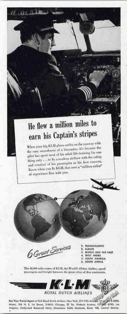 Fly Million Miles To Earn Captain's Stripes Klm (1948)