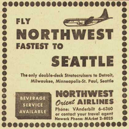 Northwest Airline's Seattle – FLY NORTHWEST FASTEST TO SEATTLE (1954)
