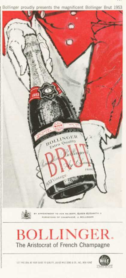 Bollinger Brut French Champagne Ad 1953 (1959)