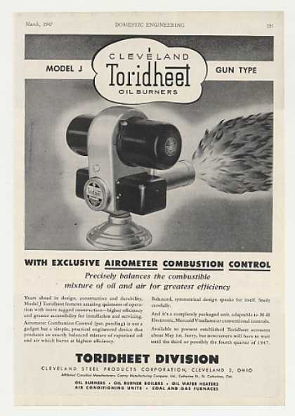 Cleveland Toridheet Model J Gun Type Oil Burner (1947)