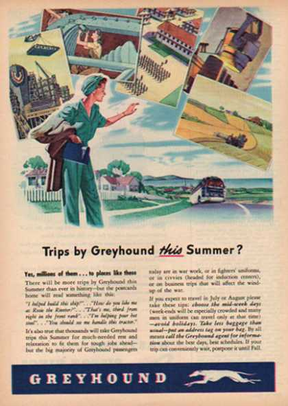 Greyhound Bus Lines – Summer Trips during war time (1944)