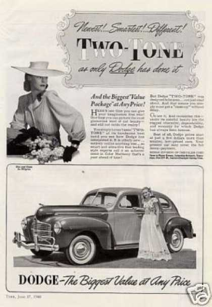 "Dodge Car Ad ""Two-tone... (1940)"