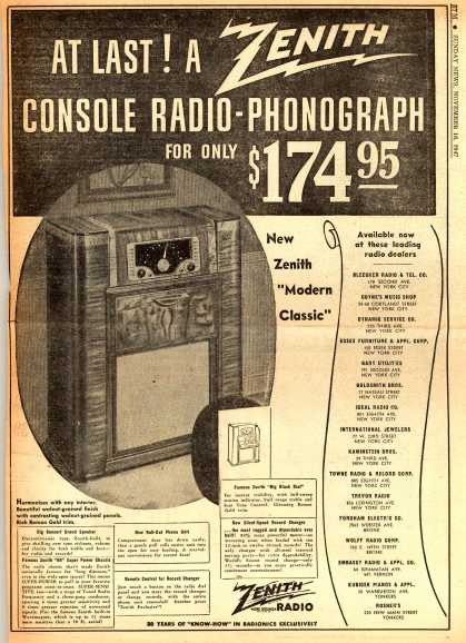 "Zenith Radio Corporation's Zenith ""Modern Classic"" – At Last! A Zenith Console Radio-Phonograph for only $174.95 (1947)"