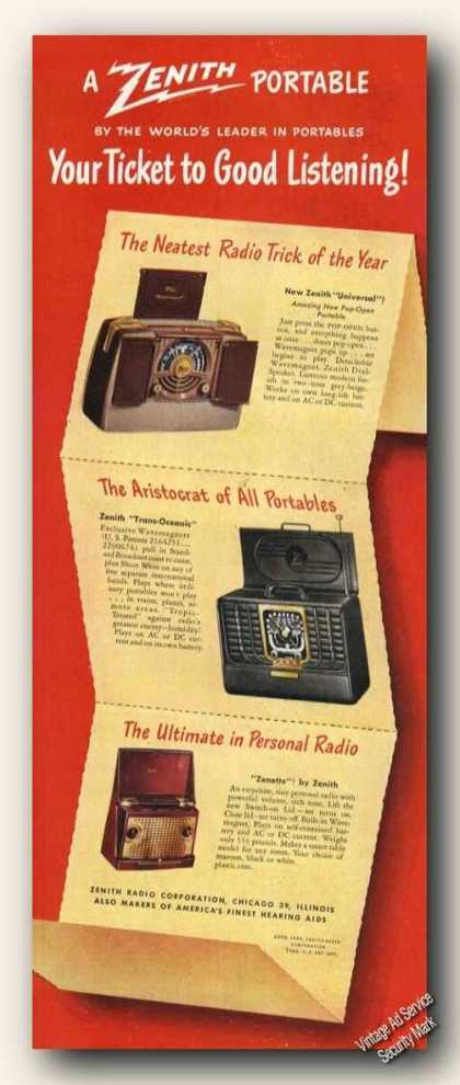 Zenith Portable Radios (3) Color (1949)