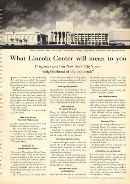 New York City Ad Lincoln Center Juillard School (1960)