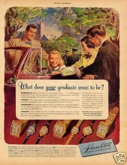 Hamilton Watches Ad 'what Does Your Graduate... (1948)