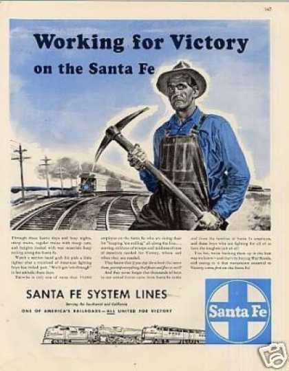 "Santa Fe Railroad Ad ""Working for Victory... (1943)"