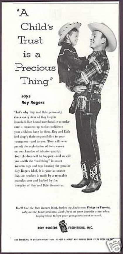 Cowboy Roy Rogers Frontiers Label RR Brand (1956)