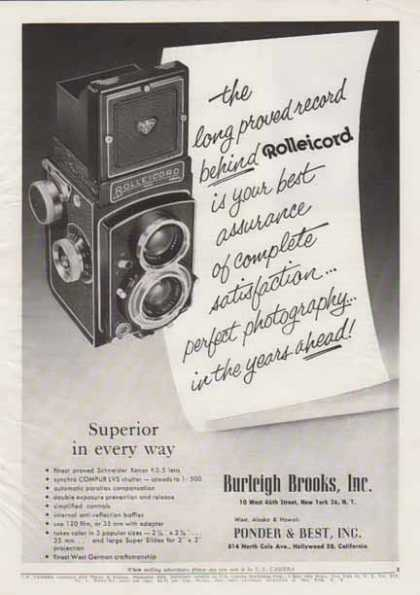 Rolleicord Camera from – Superior in every way – Sold (1956)