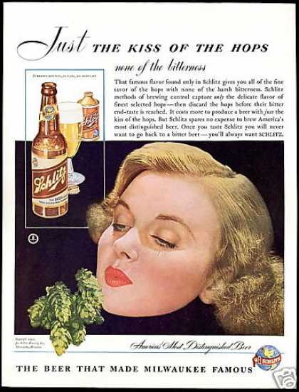 Pretty Woman Schlitz Beer Bottle Can Photo (1942)