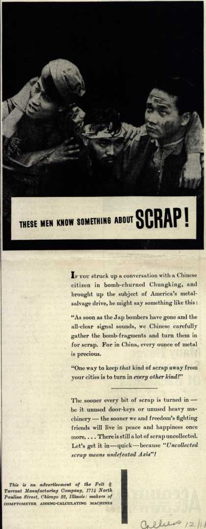 Felt & Tarrant Manufacturing Co.'s Scrap metal – These Men Know Something About Scrap (1943)