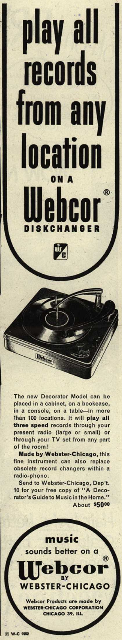 Webster-Chicago Corporation's Diskchanger – play all records from any location on a Webcor Diskchanger (1952)