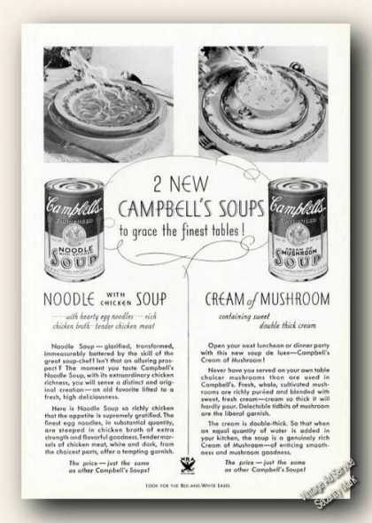 New Chicken Noodle & Crm of Mushroom Campbells (1939)