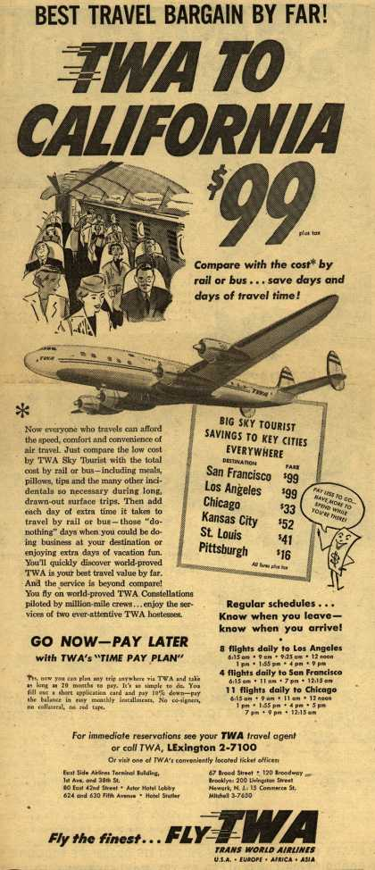Trans World Airline's California – Best Travel Bargain By Far TWA TO CALIFORNIA $99 (1954)