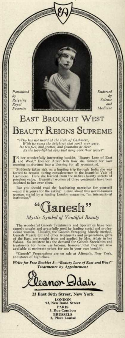 Eleanor Adair's Patent Ganesh Forehead Strap – East Brought West Beauty Reigns Supreme (1923)