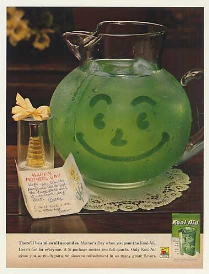 Green Kool-Aid Smiling Pitcher Mother's Day (1962)