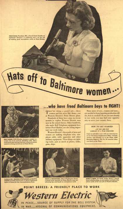 Western Electric's various – Hats off to Baltimore women... (1943)