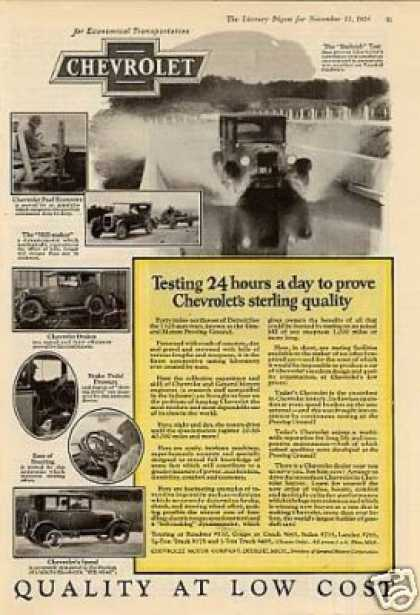 "Chevrolet Car Ad ""Testing 24 Hours... (1926)"