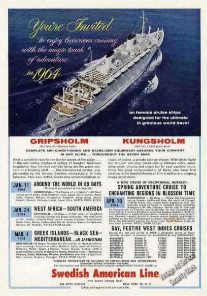Swedish American Line 1964 Cruise Schedule (1963)