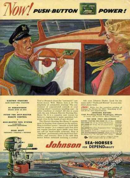 Now! Pushbutton Power Johnson Outboard Motors (1954)